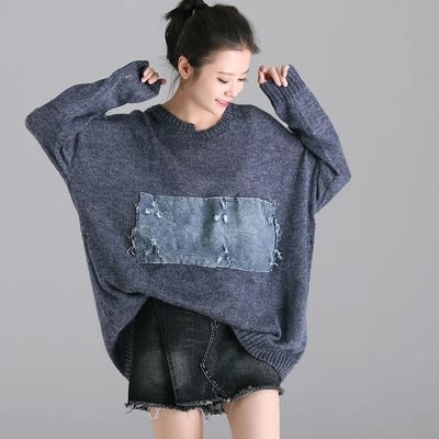 針織毛衣 文藝 做舊 破洞 不對稱 長袖毛衣-M2103-夢想家- 0918