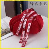 春秋款長帶子紅色棒球帽男女情侶學生街頭潮牌彎鴨舌帽