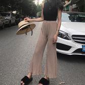 夏季新款時尚氣質百褶微透闊腿褲百搭高腰顯瘦木耳邊褲腳休閒褲女
