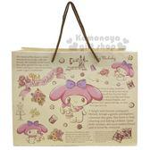 〔小禮堂〕美樂蒂 日製橫式手提紙袋《M.米.抱兔子》包裝袋.禮物袋 4964694-39146