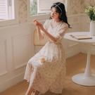 2021早春新裙子ins超仙顯瘦法式初戀溫柔氣質碎花雪紡洋裝連衣裙長款 快速出貨