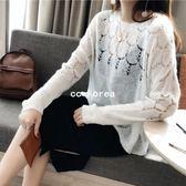 超美簍空花紋馬海毛針織薄毛衣 CC KOREA ~ Q17762