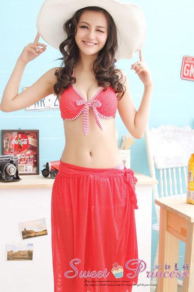 沁甜美姬❤甜蜜滋味~波點沙龍三件式鋼圈泳衣(紅)*花漾爆乳襯墊/日系內衣/睡衣袍/音樂祭