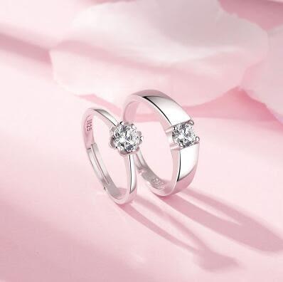 s925純銀戒指男女飾品日韓簡約對戒開口情侶結婚戒一對 DN5652【Pink中大尺碼】
