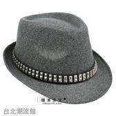 男士韓版 鉚釘爵士帽 英倫夏季天女士毛呢小禮帽 復古情侶帽子