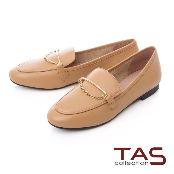 TAS一字金屬鍊飾釦牛皮樂福鞋–百搭膚