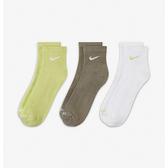Nike U EVRY PLUS LTWT ANKLE 3PR 三雙入 白綠咖 短襪 中筒襪 SX6893-906