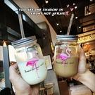 玻璃梅森水瓶韓國火烈鳥吸管透明創意帶蓋冷飲奶茶果汁公雞水杯子【免運85折】
