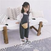 女童時尚格子背帶褲秋兒童寶寶寬鬆直筒連身褲潮 町目家