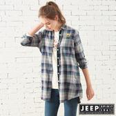 【JEEP】女裝 雙色格紋長版長袖襯衫 (藍綠格紋)