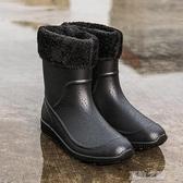 雨鞋-冬季男士雨鞋中筒防滑時尚雨靴廚房工作鞋男洗車保暖水鞋釣魚膠鞋 夏沫之戀