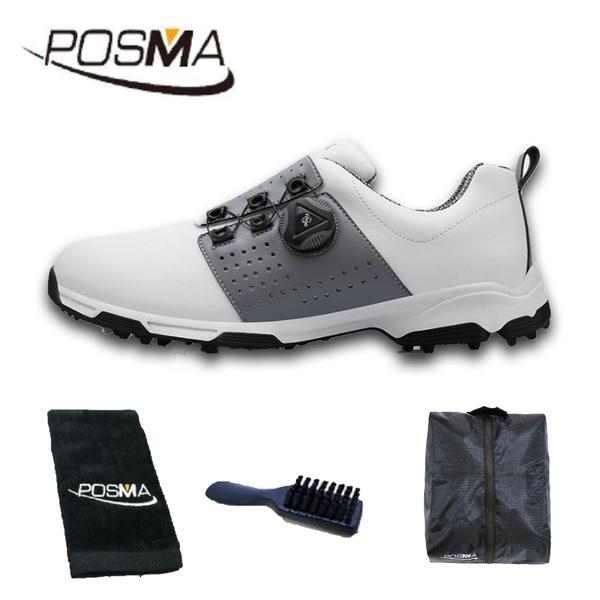 高爾夫男士球鞋 防水 透氣 旋轉鞋帶球鞋 防滑鞋釘 GSH096WGRY