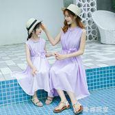 中大尺碼 親子裝無袖花朵系帶連衣裙雪紡沙灘裙 ZB796『時尚玩家』