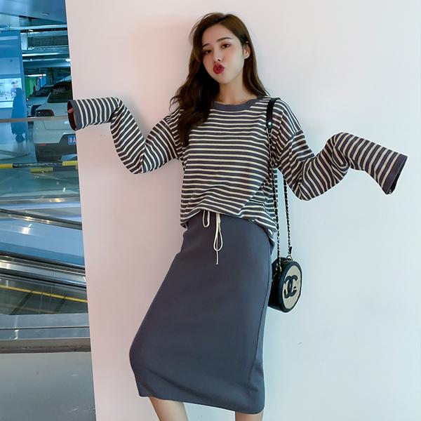超殺出清 韓國風條紋針織衫包臀裙套裝長袖裙裝