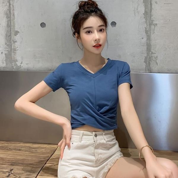 露肚臍短袖T恤女V領修身純棉漏肚臍高腰交叉短款夏季緊身上衣洋氣
