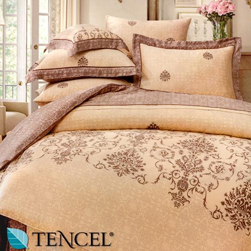 【Jenny Silk名床】凱莉絲.100%天絲.超柔觸感.標準雙人床包組兩用鋪棉被套全套