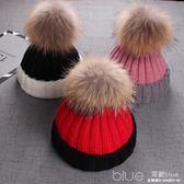 寶寶帽子秋冬新款男女兒童時尚貉子毛帽保暖針織毛線拼色毛球帽 深藏blue