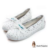 Hush Puppies 快樂泡泡咖啡紗甜心娃娃鞋-白泡泡