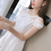 [促銷全場八五折]夏季新款裙子仙女超仙森系露肩短袖桔梗法式初戀蕾絲小心機連衣裙