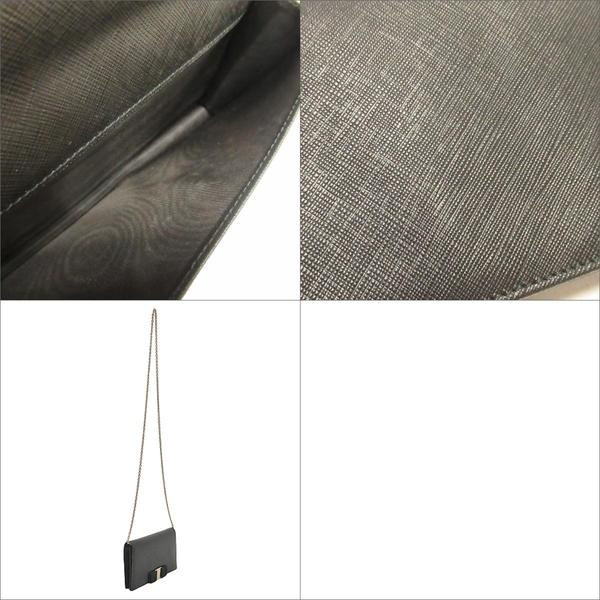 Salvatore Ferragamo 費拉格慕 黑色防刮牛皮金釦手拿包 肩背包(鍊帶可拆) 長夾