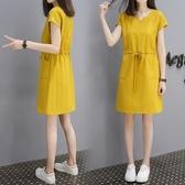售完即止-洋裝 裙中大尺碼 夏季中長款T恤裙女寬鬆V領短袖連身裙庫存清出(9-16T)