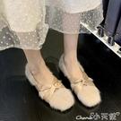 瑪麗珍鞋 2020秋冬新款韓版仙女風毛毛鞋方頭低跟交叉帶瑪麗珍鞋單鞋女 小天使