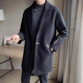 風衣男中長款秋冬季新款呢子外套韓版潮流帥氣寬松英倫風毛呢大衣 快速出貨