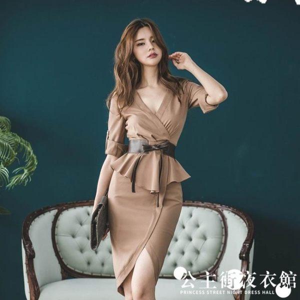 早秋女正韓時尚性感V領修身拼接荷葉邊包臀開叉洋裝連身裙子