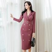 OL洋裝 2021秋冬韓版OL氣質女神范修身中長款雙排扣包臀職業西裝領連身裙 艾維朵