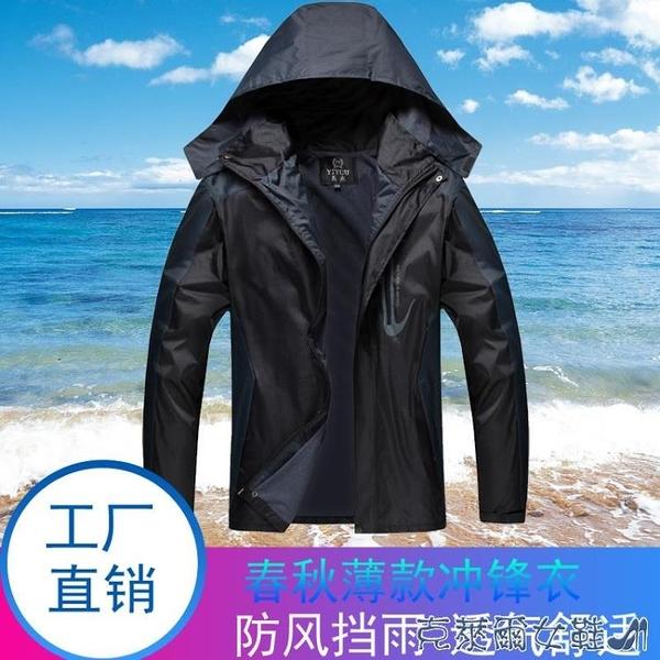衝鋒衣 戶外工作服夾克男女款春秋裝薄款大碼耐磨沖鋒衣外套可印字加LOGO 快速出貨