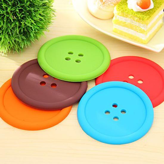 糖果色圓形鈕扣杯墊 水杯 居家 廚房 餐具 碗盤 隔熱 防滑 矽膠 防燙【X029】MY COLOR