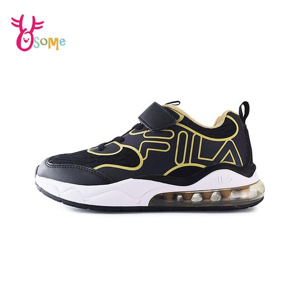 FILA童鞋 男童運動鞋 氣墊鞋 反光設計 慢跑鞋 運動鞋 跑步鞋 魔鬼氈 康特杯 R7658#黑金◆奧森