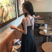 洋裝 韓系細肩帶露背連身長裙 小禮服 花漾小姐【預購】