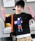 男童長袖T恤秋裝新款假兩件打底衫純棉中大童男孩洋氣潮T 海角七號