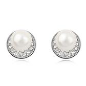 珍珠耳環 925純銀耳針式-鑲鑽浪漫生日情人節禮物女飾品3色73bd201【時尚巴黎】