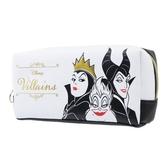 〔小禮堂〕迪士尼壞皇后皮質拉鍊筆袋《黑白大臉》收納包化妝包鉛筆盒4991277 63627