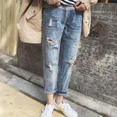孕婦牛仔褲春秋款2018新款外穿九分春裝薄款大碼寬鬆托腹打底褲子   LannaS