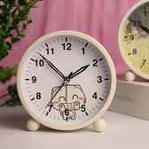 簡約金屬鬧鐘創意靜音夜光可愛兒童女學生床頭鬧鐘臥室小鐘錶
