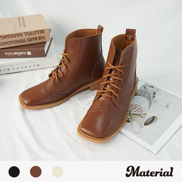 短靴 牛津壓紋方頭綁帶短靴 MA女鞋 T3885