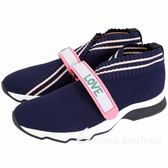 FENDI Rockoko 彈力紗面料橡膠標籤飾運動鞋(藍色) 1840161-34