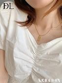 項鍊 幸運數字7項鍊 歐美ins冷淡風韓版網紅小眾鈦鋼金色項鍊鎖骨鍊女 艾家
