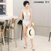 韓國游泳衣女連體性感露背蕾絲比基尼泳裝