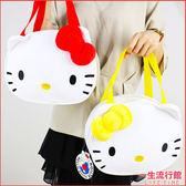 Hello Kitty 凱蒂貓正版 療癒 大頭 絨毛手提便當袋 水壺收納袋  B19069