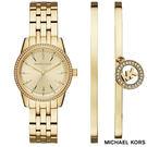 MICHAEL KORS 金色水鑽圈三針鋼帶女錶 贈MK原廠手環套組 MK3742 34mm 公司貨保固2年 名人鐘錶