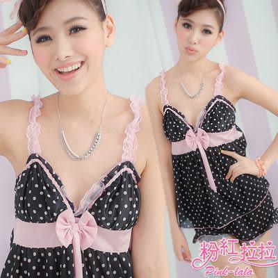 *╮粉紅拉拉【PAE936】日系寶貝。柔軟滑棉兩件式點點睡衣居家服。小可愛+寬平口褲。 黑色