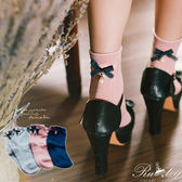 襪子 配色蝴蝶結珍珠短襪-Ruby s 露比午茶