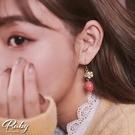 耳環 可愛草莓花朵垂墜耳環-Ruby s 露比午茶
