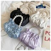仙女小包包2020新款潮韓版時尚褶皺云朵包珍珠手提斜挎鏈條水桶包