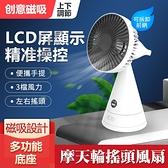 台灣現貨 創意磁吸化妝鏡風扇帶屏顯摩天輪搖頭風扇桌面臥室桌面大電量台扇