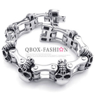 《 QBOX 》FASHION 飾品【B10022956】 精緻個性歐美粗曠骷髏車鍊條鈦鋼手鍊/手環(限量收藏)